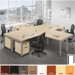 Variant Workstations for 4 People - Maple Finish with 2-Drawer Mobile Storage