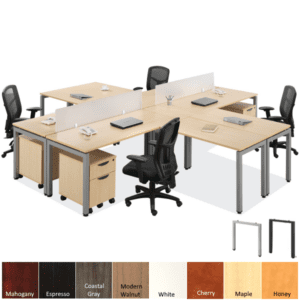 Maple 4 person desk workstations