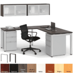 Wall Mount Hutch with Metal L-Desk