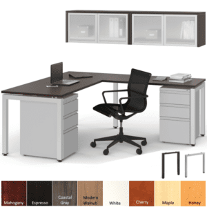 Modern Steel L-Desk with Wall Mount Frosted Glass Door Hutch