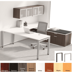 Office Source PLT U-Desk with Frosted Glass Door Hutch and File Bench with Seat Cushion