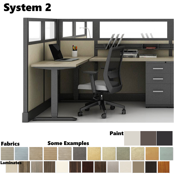 System 2 Cubicle with Glass Top Panels