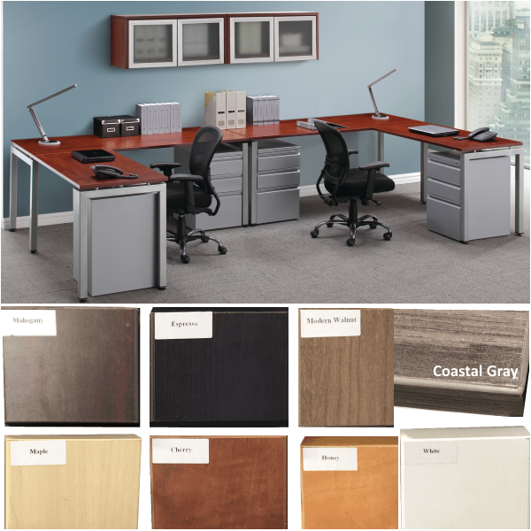 Variant Color Palette Finishes - Two Workstations with wall mount hutches