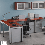 Unite Leg Base L-Desk with Wall Hutches