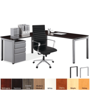Variant L-Shaped Desk with Steel Base and Laminate Surface