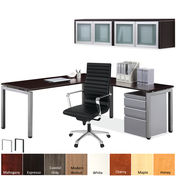 Variant Elements Metal U Leg Desk and Dual Wall Mount Hutch with 2 Frosted Glass Doors