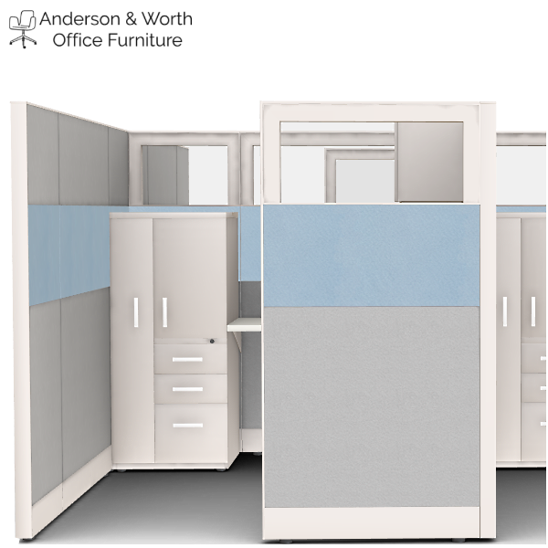 6x8x69H Cubicle with Wardrobe Storage Tower