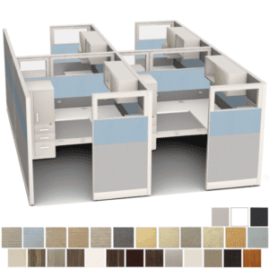 4 6x8 Cubicles with Glass Panels & Storage Tower