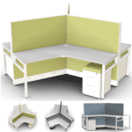 3-pack workstations with curved surface