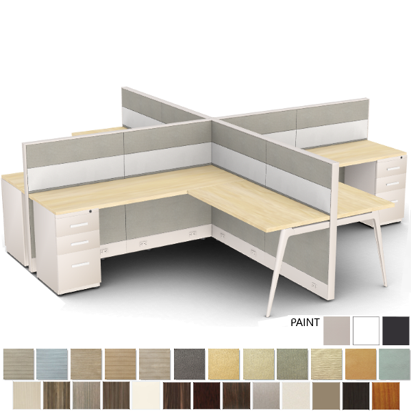 2x2 4 person cubicle mid wall height