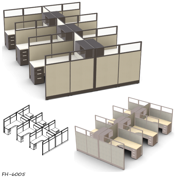 FH-6005 Set of 6 Cubicles with Glass Panels
