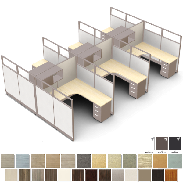 Novo 6 Workstations with Glass Panels - Workstations for Office