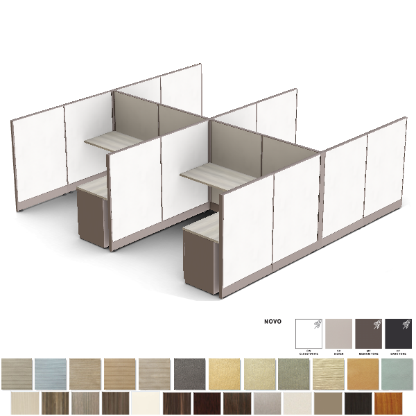 Set of 4 Cubicles - Sterling Fabric with Woodgrain Laminate Surfaces