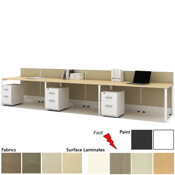 1x3 Set of 3 Workstations - Friant Novo - Low Wall Panels