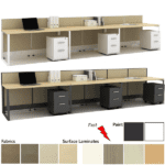 White or Dark Tone Finish - 3 Open Workstations with Power