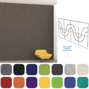 Mergeworks Echo Deco D202 Focus In Pattern - Charcoal - Layout B - Set of 8 PET Acoustical Wall Tiles - 9MM 23.5 Inch Squares - AW Office Furniture - North Texas