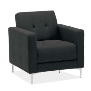 Reception Chair in Tufted Black Fabric