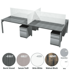modular desk set for four with frosted glass dividers