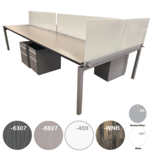 Modular Open Plan Desk with End Screen Cap in Frosted Glass