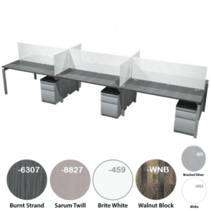 15' Modular Workstation for 6 with Frosted Glass Privacy Screens