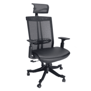 Executive Chair with Headrest - Anti-microbial black vinyl seat