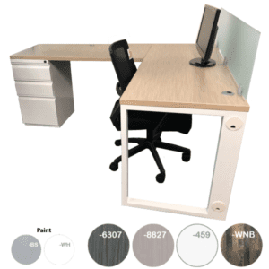 L Desk with Screen and Grommet